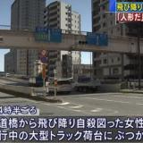 【仰天】足立区の歩道橋から飛び降り自殺!走行中のトラック運転手は「人形だ」と言って去る!
